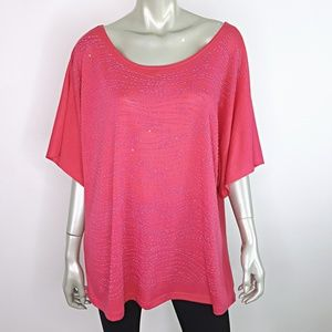 Pink Beaded Dolman Sleeve Top Plus Size 2X